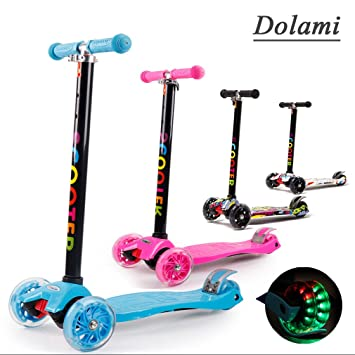 Dolami Twist & Roll Patineta de 3 ruedas para niños con luz LED freestyle scooter,