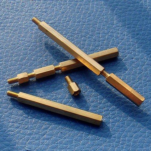 Electronics-Salon 50pcs 25mm Threaded Metric M3 Brass Male-Female Standoff, Spacer.