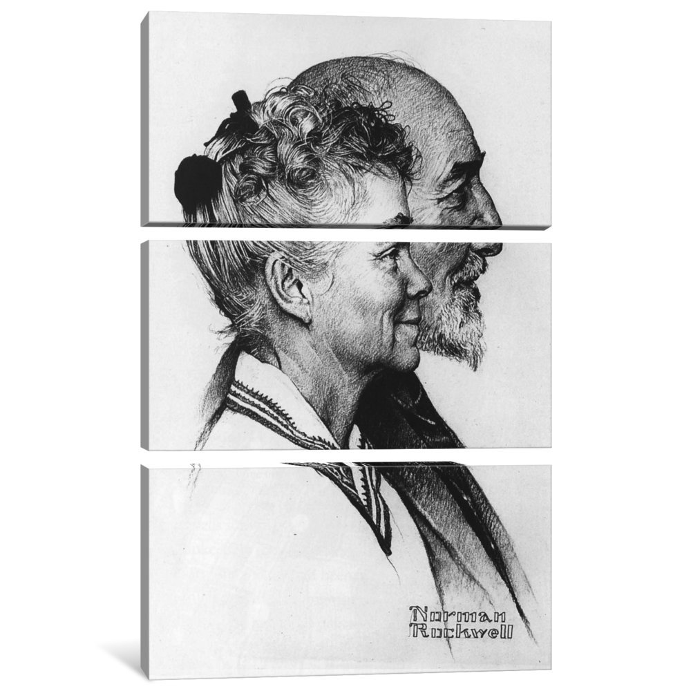 iCanvasART 3-Piece Portrait of John and Dorothy Canfield Fisher Canvas Print by Norman Rockwell 1.5 by 40 by 60-Inch