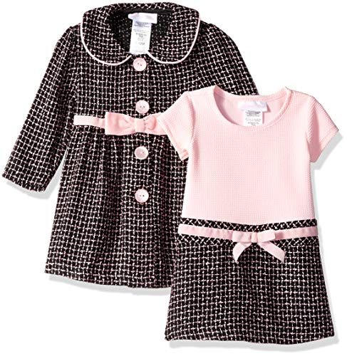 Bonnie Baby Girls Coat Set, Brown/Pink, 18M