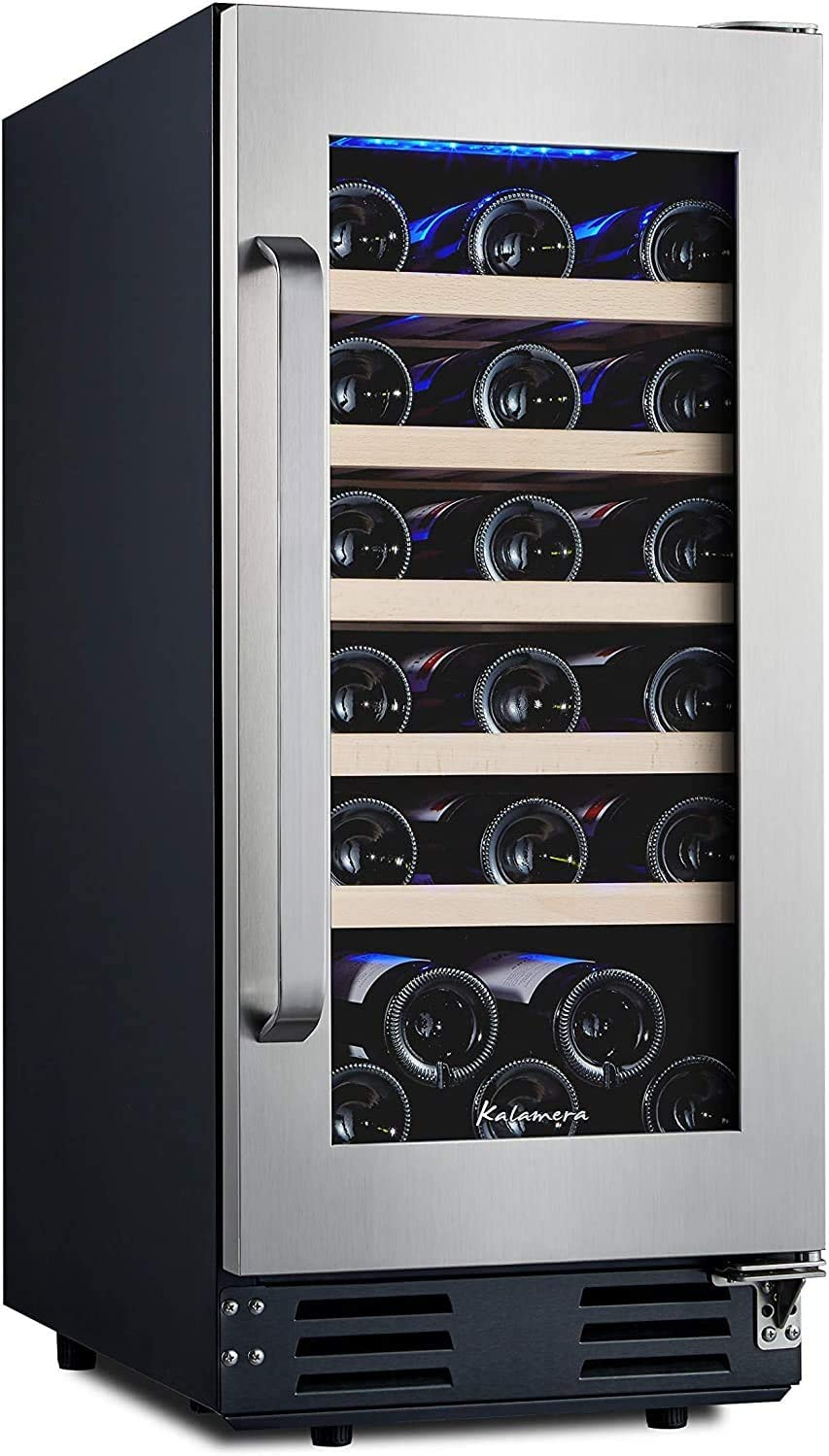 Kalamera 15 Inch Wine Refrigerator Cooler 30 Bottle Built-in or Freestanding with Stainless Steel & Double-Layer Tempered Glass Door and Temperature Memory Function