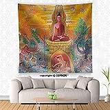 VROSELV custom tapestry Art Thai Mural Mythology Buddhist Religion on Wall in Wat Neramit Vipasama Dansai Loei Thailand - Fabric Wall Tapestry Home Decor