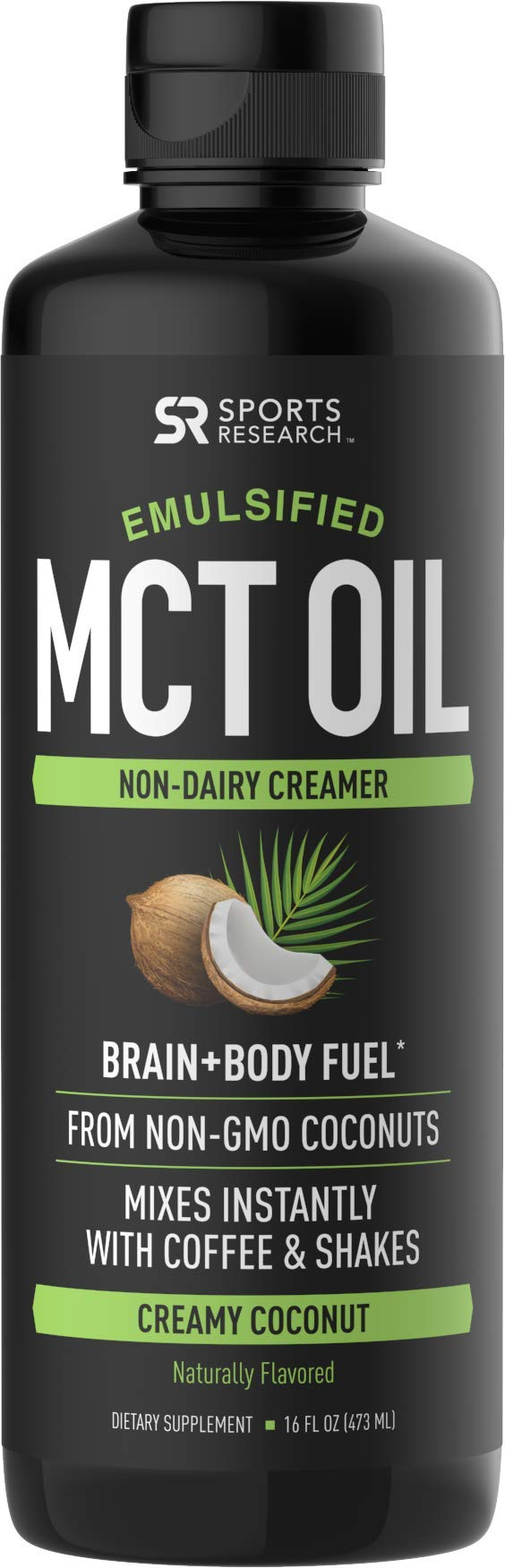 Emulsified MCT Oil (16oz) Made from Non-GMO Coconuts ~ Non-Dairy Creamer for Cold Brew, Keto Coffee, Protein Shakes, Salads & More ~ No Blending Required ! (Creamy Coconut Flavor)