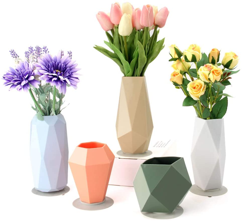 Geometric Silicone Flower Vase Set For Children Flower Arrangement Modern Decorative Flower Vase For Home Decor Living Room Table Office Centerpieces Perfect Little Vases Gifts Set Of 5 Kitchen Dining