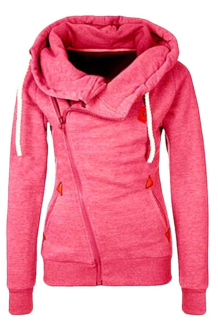 Cutiefox Women's Casual Funnel Neck Zip up Fleece Hoodie Jacket CFPHD7599