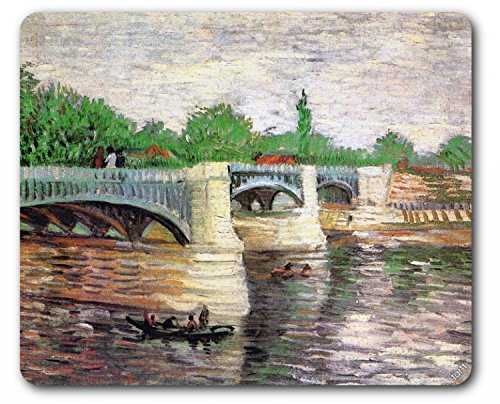 (Vincent Van Gogh Mouse Pad - The Seine with The Pont De La Grande Jatte, 1887 (9 x 7 inches))