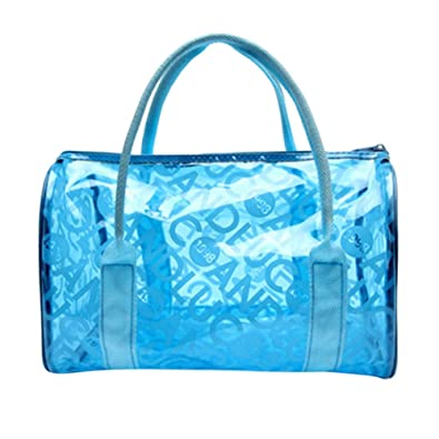 7d11a846af BoodTag Women s Clear Beach Bag Transparent Swimming Tote Shoulder Bag  Waterproof Large Format Handbag (Blue