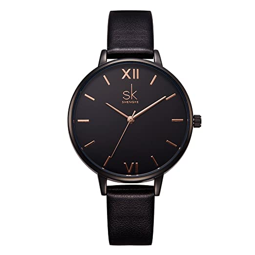 Amazon.com: SK Women Watches Leather Band Luxury Quartz Watches Girls Ladies Wristwatch (Black): Watches