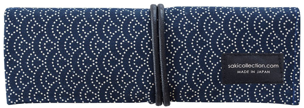 1 X Saki P-661 Roll Pen Case with Traditional Japanese Fabric - Navy