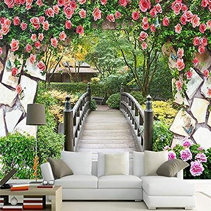 Camera Matrimoniale A Ponte Su Misura.Amazon Com 3d Della Parete Murale Fiori Da Giardino Da Parete