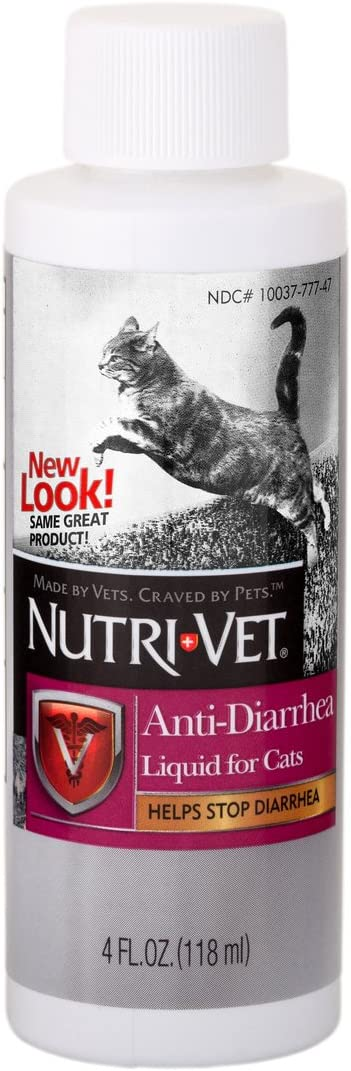 Nutri-Vet Anti-Diarrhea Liquid for Cats | Detoxifying Agent Works Against Bacterial Toxins | Helps Sooth Upset Stomach and Stop Diarrhea | 4oz