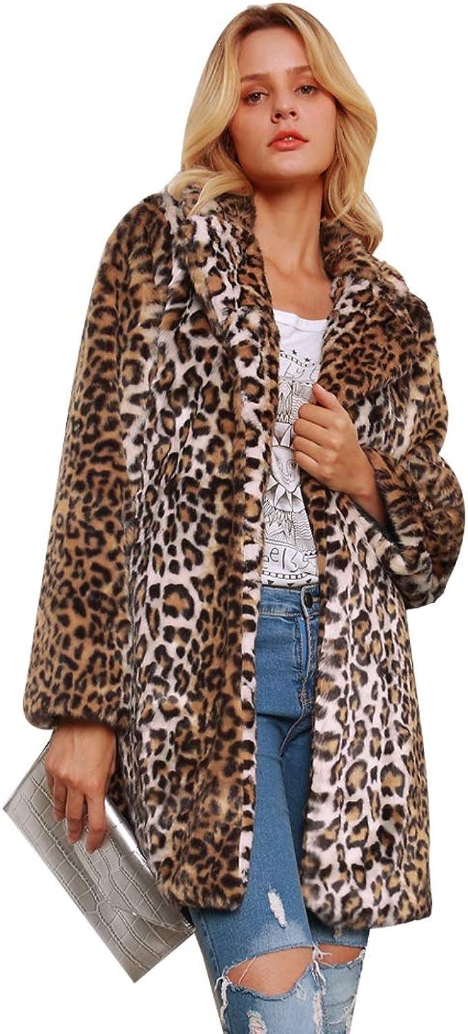 Verbazingwekkend Womens Leopard Sexy Faux Fur Jacket Coat Long Sleeve Winter Warm NA-88