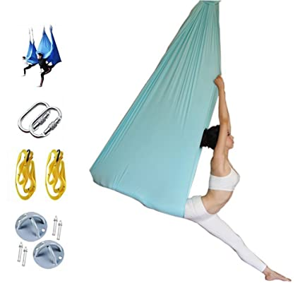 5*2.8m Fitness Yoga Stretch Belts Anti-gravity Aerial Yoga Swing Sling Inversion Hammock For Platis Core Strength Exercise Sports & Entertainment Yoga