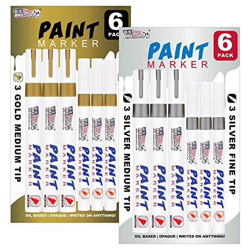 us-art-supply-set-of-12-gold-silver-oil-based-paint-pen-markers-6-medium-and-6-fine-point-tips-perma