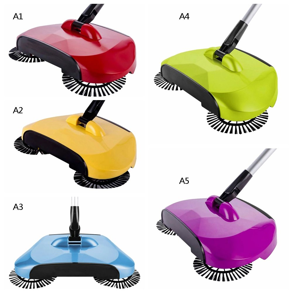 rosso Blue Handfly Floor Sweeper senza elettricit/à Automatic Hand Push Sweeper scopa pulizia con spazzole rotanti Gift