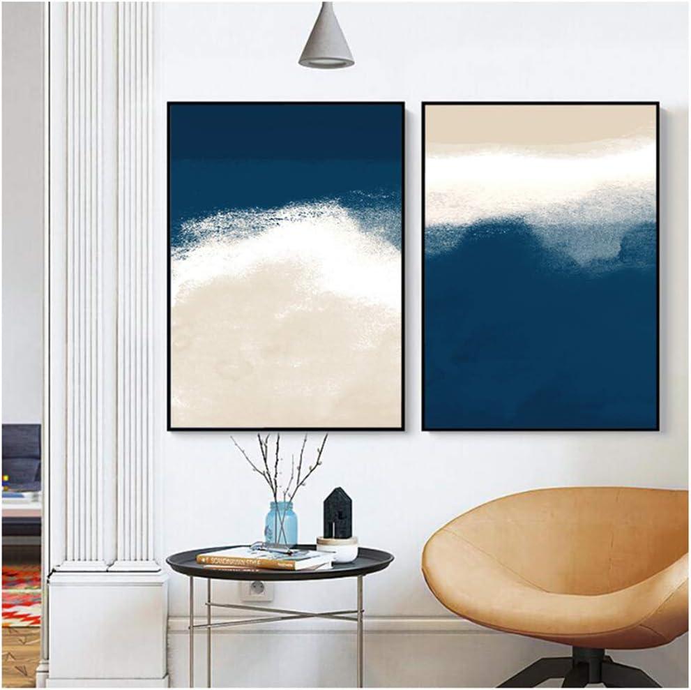 Acuarela Azul marino Beige Cuadros abstractos Galería de pinturaCarteles e impresiones para la decoración del hogar de la sala de estar-40x60cm (15.7