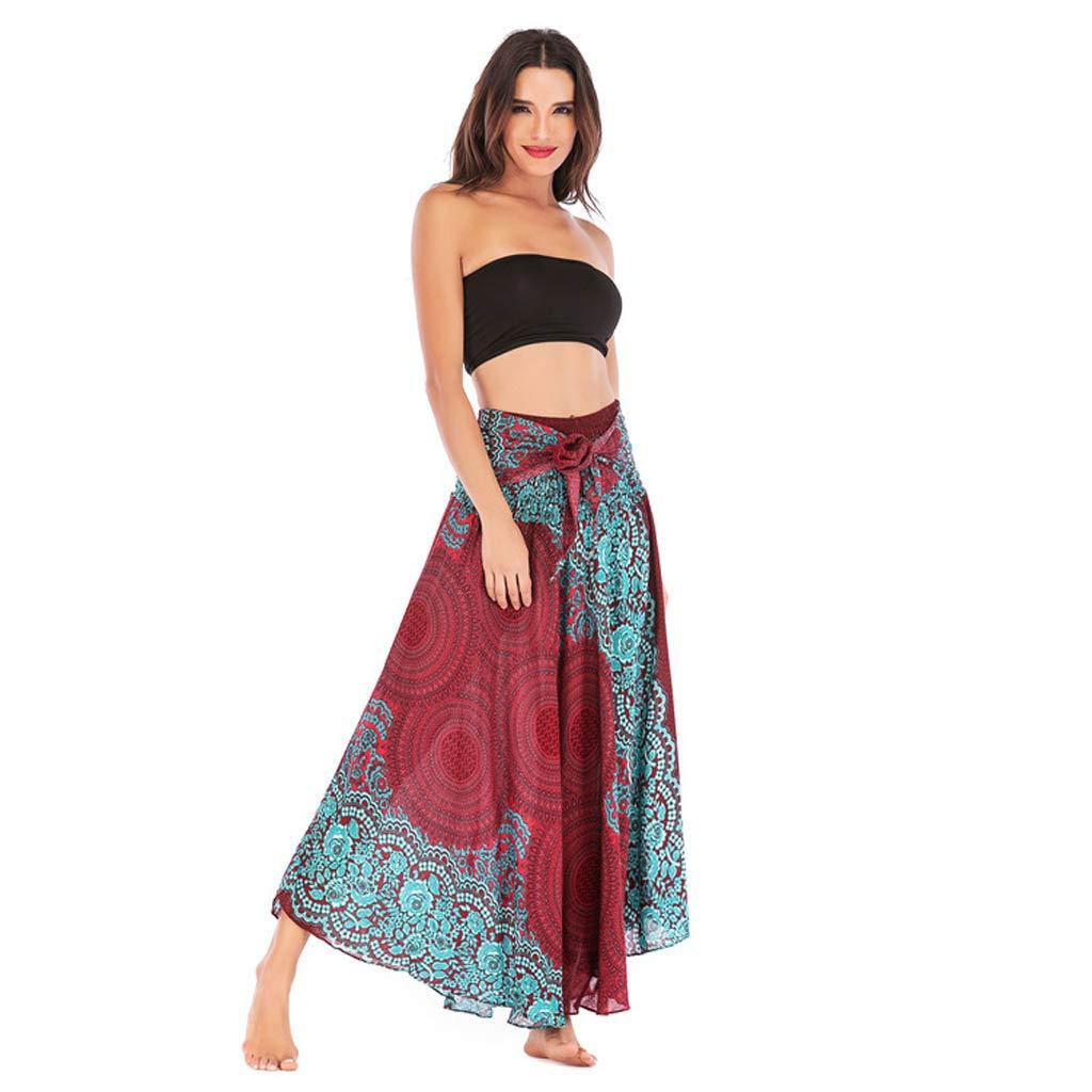 USStore Women Beach Skirt Dual Use Boho Gypsy National Style Hippie Popular Vintage Floral Pattern Elastic Waist Maxi Skirt