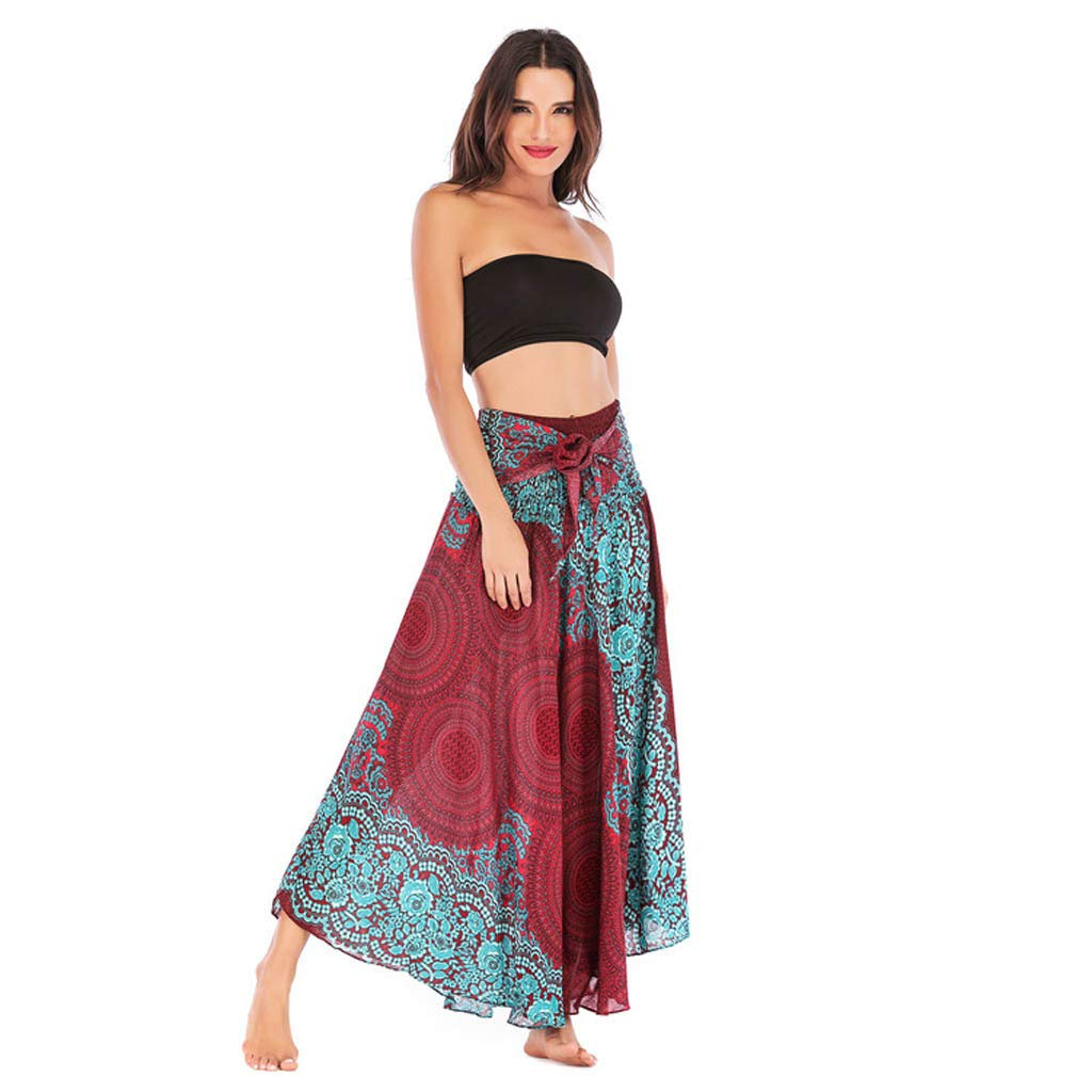 Tantisy ♣↭♣ Women's High-Waisted Boho Asymmetrical Hem Tie up Long Maxi Print Wrap Skirt Ladies Flowy Chiffon Beach Skirts Light Blue