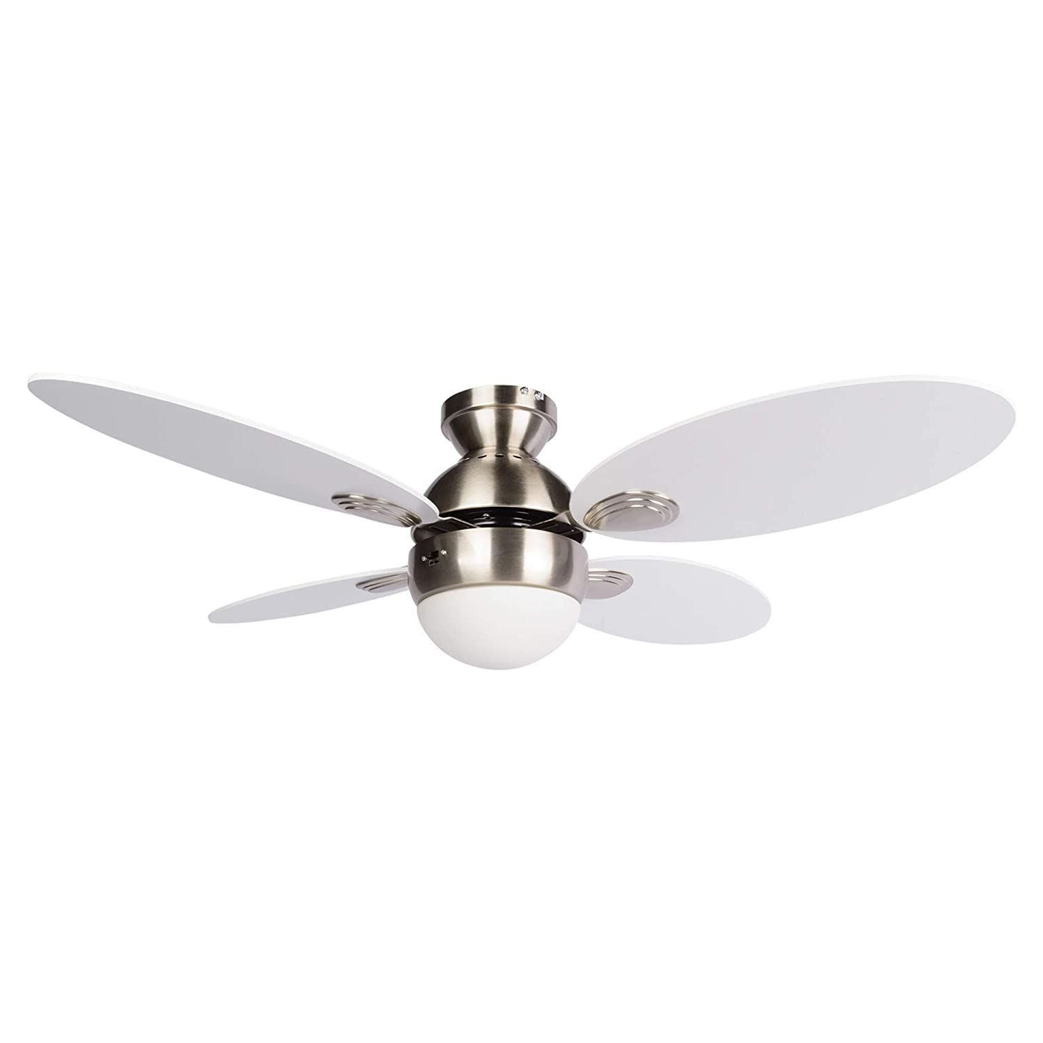 NOMA Scandinavian White Ceiling Fan with Light 42-Inch Dimmable Flush Mount Dual Mount Ceiling Fan with Remote White Blades, Brushed Nickel Finish