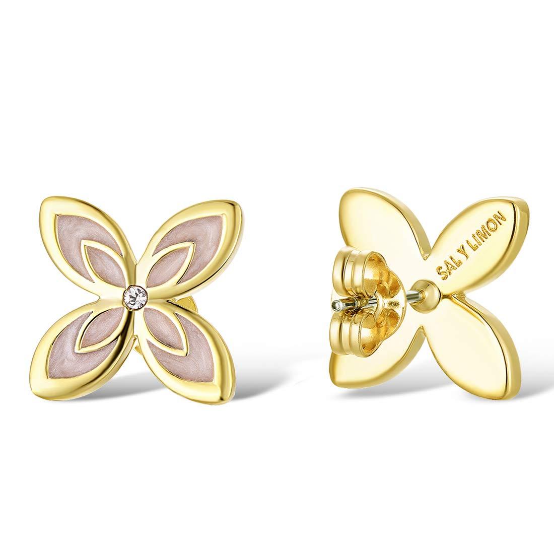 Santuzza Clover Stud Earrings Yellow Gold Plating Cubic Zirconia Earrings Brass Hypoallergenic Stud Earrings Enamel Ear Accessories for Women Girls(Pink)