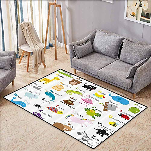 Large Door mat,Animal,Cute Zoo Creatures Turtle Unicorn Octopus Ladybug Frog Cat Giraffe Duck Kids Display,Anti-Static, Water-Repellent Rugs,4'11