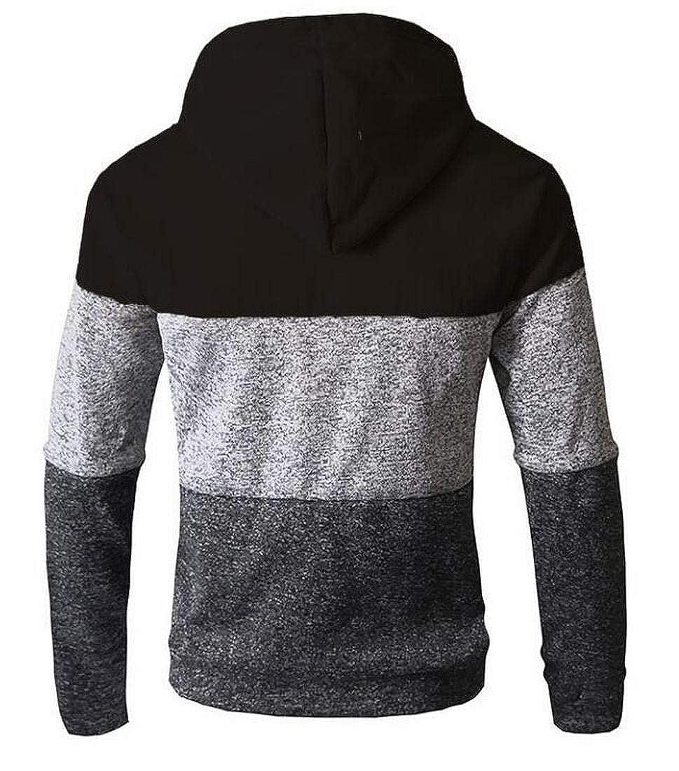 Zantt Mens Zip up Jackets Color Block Vogue Active Sweatshirts with Hood