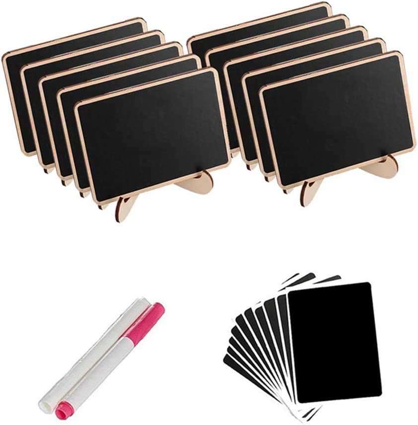 Ultnice Wood Mini Blackboard Table Place Name Cards Wedding Table Decoration Pack of 10
