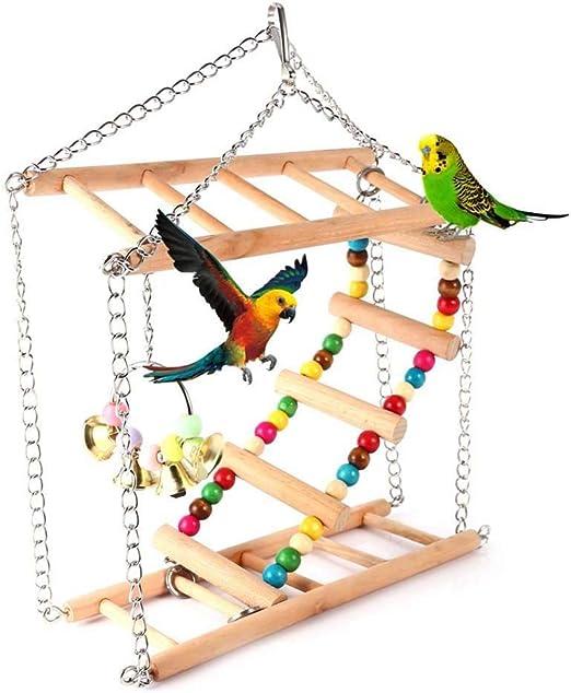 FXQIN Escalera de pájaro de Madera de Doble Capa, Juguetes de Periquito para Jaula Escalera Colgante de Madera, Columpio de Loro Juguete Colgante de Hamaca,S: Amazon.es: Productos para mascotas