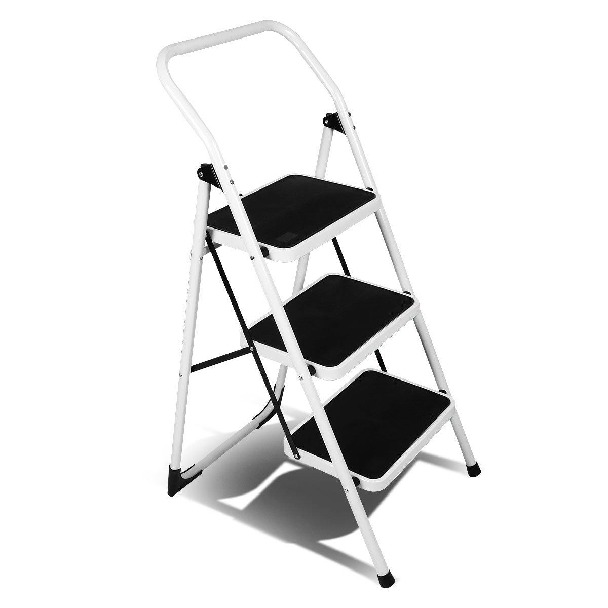 Magshion 3 Step Ladder Platform Lightweight Folding Stool Heavy Duty Industrial Safety Space Saving
