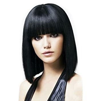 Fani 14 Inch Wigs Bob Wig with Flat Bangs For Women Yaki Straight Synthetic Wigs for