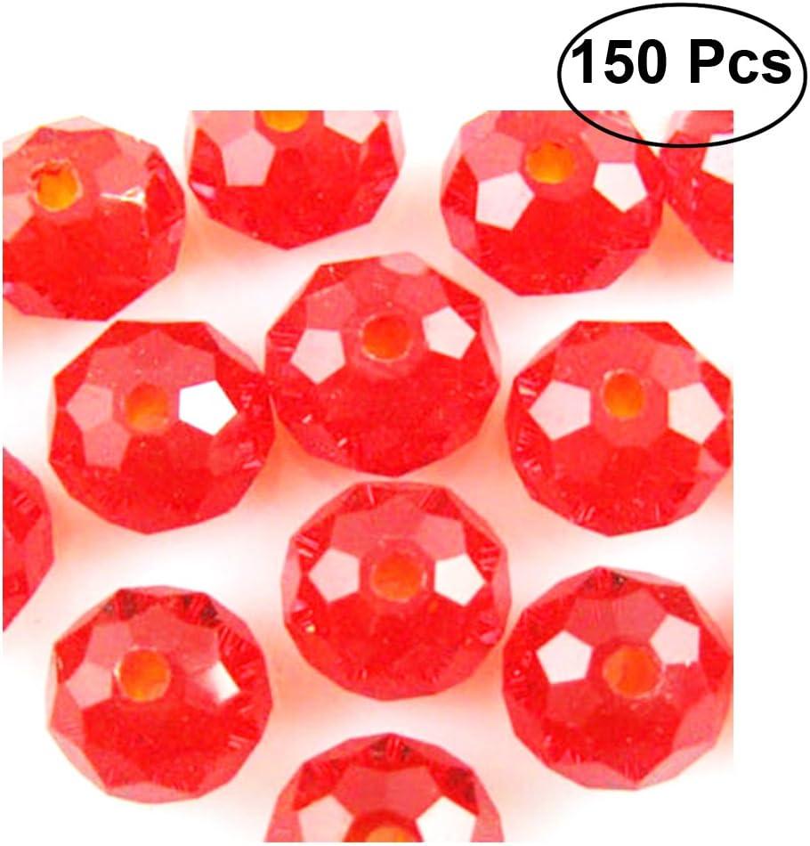 rosenice cuentas de cristal facetado rondelle cuentas para manualidades DIY Joyas Pulsera Collar hacer (rojo brillante)–150piezas