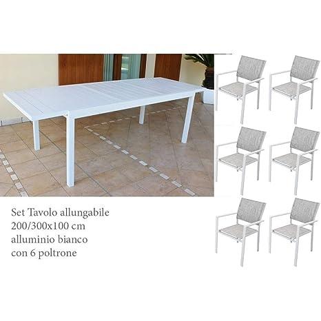 Tavolo Per Giardino Allungabile.Set Tavolo Giardino Allungabile Rettangolare 200 300 X 100 Con 6