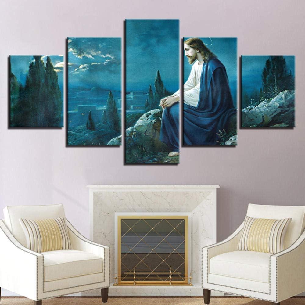 NoBrand Toile Moderne Peintures HD 5 pi/èces Jesus REGARDANT sur J/ÉRUSALEM 5 pi/èces Wall Art Modular Wallpapers Poster 40x60 40x80 40x100cm Pas de Cadre