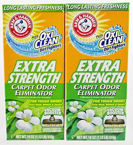 Arm & Hammer Extra Strength Carpet Odor Eliminator Plus Oxi Clean Dirt Fighters - 2 Boxes, 18oz ea