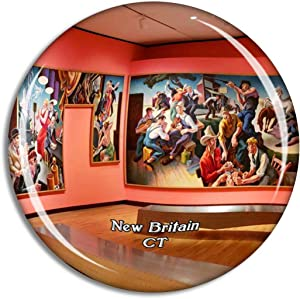 New Britain Museum Connecticut USA Magnet Travel Souvenir 3D Crystal Glass Collection Gift Refrigerator Sticker
