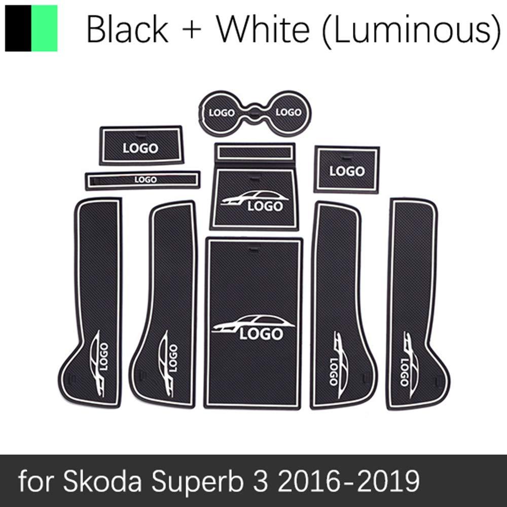 f/ür Skoda Superb 3 MK3 B8 3V 2016~2019 Zubeh/ör Matte f/ür QSONGL Anti-Rutsch-Gummi Cup Cushion T/ürnut Matte