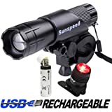 CREE LED Bike Light Set by Sunspeed - 300 Lumens Headlight with Rear Light - Super Bright & Water Resistant - 3 Lighting Modes - Easy Mount & Quick Release - for Racing & Road & Mountain Bicycles