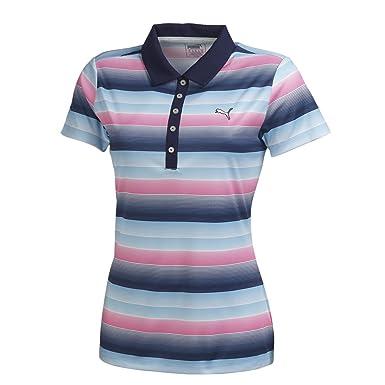 PUMA Road Map Stripe Golf Polo 2016 Womens Peacoat/Betroot Purple X-Small