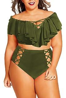 cd104d2fb7 Kisscynest Women s Plus Size Off The Shoulder Ruffles High Waist Bikini Sets