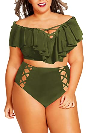 10fc50403b823 Kisscynest Womens Plus Size Off The Shoulder Ruffles Cut Out Bikini Swimsuit  Army Green XL