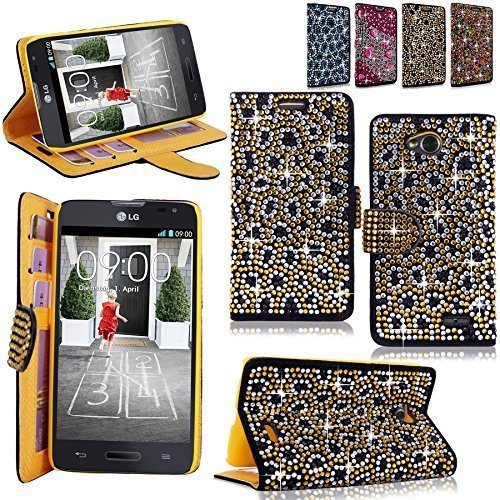Cellularvilla Pu Leather Wallet Diamond Design Sparkle Glitter Card Flip Open Pocket Case Cover Pouch For LG Optimus L70 (MetroPCS) MS323 / Exceed II (Verizon) VS450 / Dual D325 (Gold Silver)