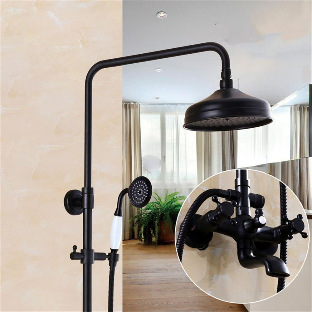 A Lpophy Bathroom Sink Mixer Taps Faucet Bath Waterfall Cold and Hot Water Tap for Washroom Bathroom and Kitchen Black Copper Booster WallMounted Lift Antique B