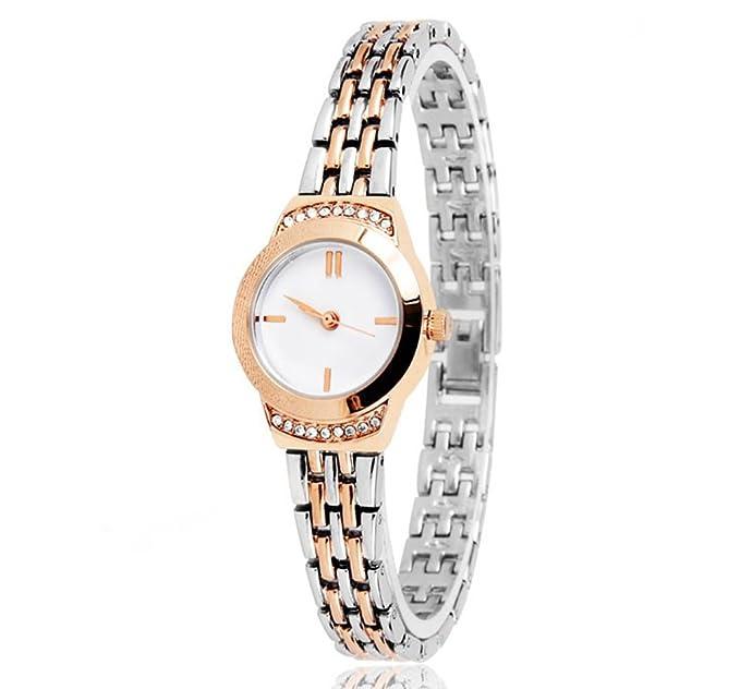 Reloj para mujer Tendencias de moda Elegante reloj de pulsera de cuarzo rosa de oro a