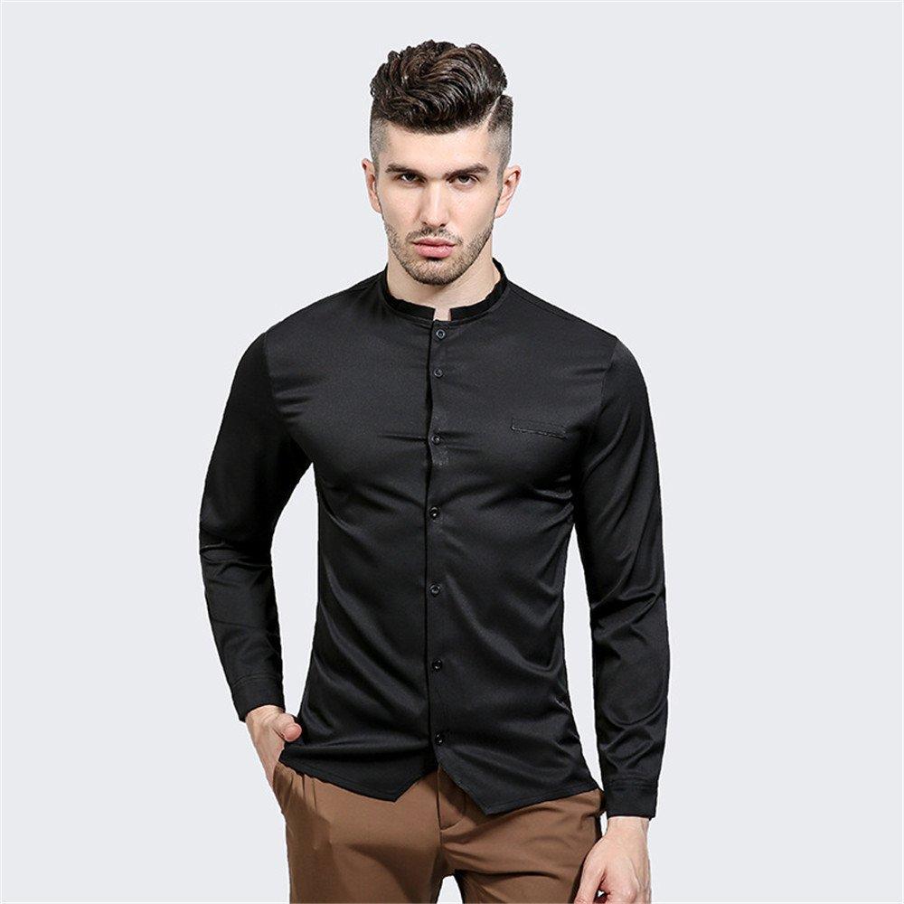Lixus Mode - Freizeit - Shirt oberhemden mit unregelmäßigen Schlitze dunkle Farbe Hemd,schwarz,XXL