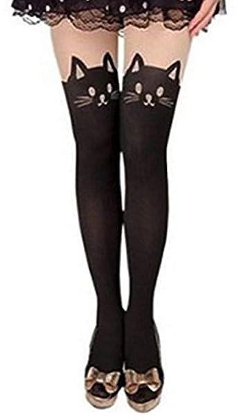 7cf54d22a Oplaza Kitten Print Socks CAT Tail Tattoo Tights Pantyhose Stockings  Underwear (Black): Amazon.ca: Clothing & Accessories