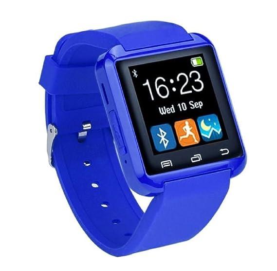 Jacky Android iOS Samsung, HTC, Sony teléfono bluetooth Smart reloj de muñeca mate azul: Amazon.es: Relojes