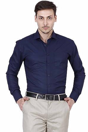 Human Steps Men Solid Formal Blue Shirt Amazon Clothing