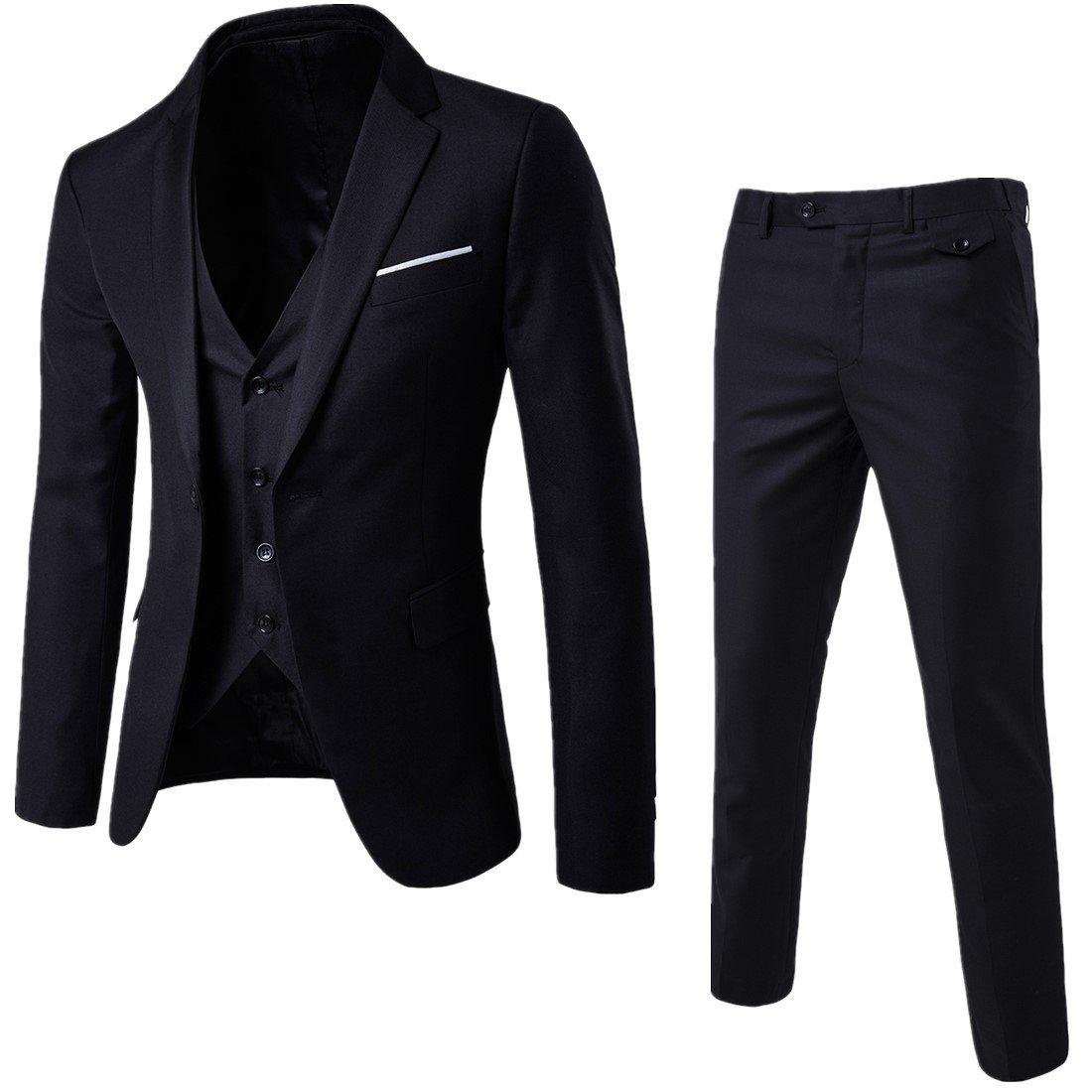 WULFUL Men's Suit Slim Fit One Button 3-Piece Suit Blazer Dress Business Wedding Party Jacket Vest & Pants Black by WULFUL