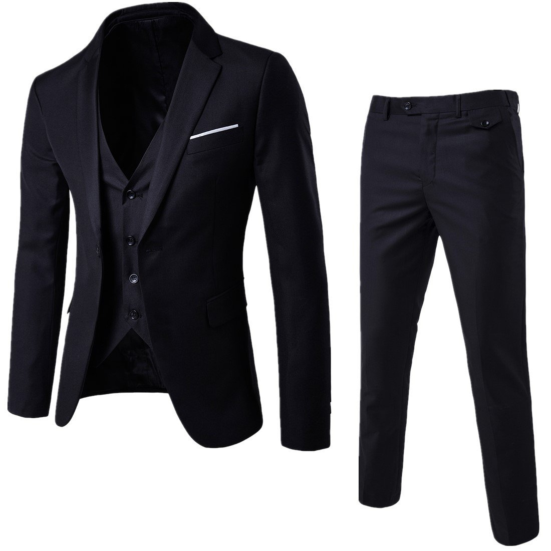 8ffd07bd4f6 MAGE MALE Men s 3 Pieces Suit Elegant Solid One Button Slim Fit Single  Breasted Party Blazer Vest Pants Set at Amazon Men s Clothing store