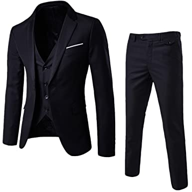 d9b9bdaada4ad WULFUL Men's Suit Slim Fit One Button 3-Piece Suit Blazer Dress Business  Wedding Party
